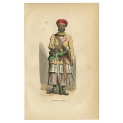 Antique Print of an Indian Sepoy Officer by Wahlen, '1843'