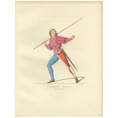 Antique Print of an Infantry Soldier, Italy, 15th Century, by Bonnard, 1860