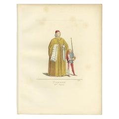 Antique Print of an Italian Podesta, 15th Century, by Bonnard, 1860
