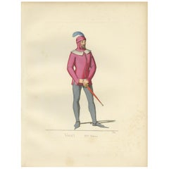 Antique Print of an Italian Valet or Servant by Bonnard, 1860