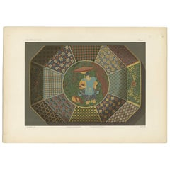 Antique Print of an Octagonal Dish 'Japan' by G. Audsley, 1884
