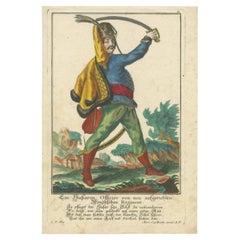 Antique Print of an Officer by Engelbrecht 'c.1780'