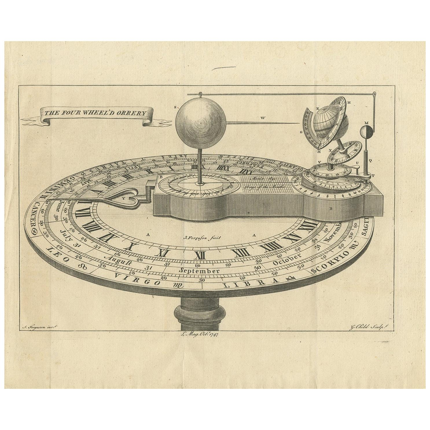 Antique Print of an Orrery by Ferguson, 1747
