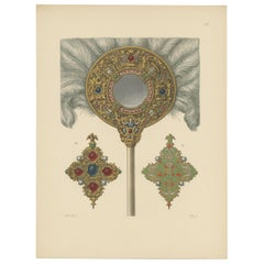 Antique Print of an Oval Feather Duster with Mirror by Hefner-Alteneck, '1890'