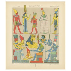 Antique Print of Ancient Egyptian Costumes by Racinet, 1888