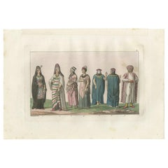 Antique Print of Arab Costumes by Ferrario, '1831'