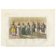 Antique Print of Arab Noblemen by Ferrario '1831'