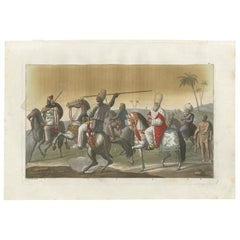 Antique Print of Arab Soldiers by Ferrario, '1831'