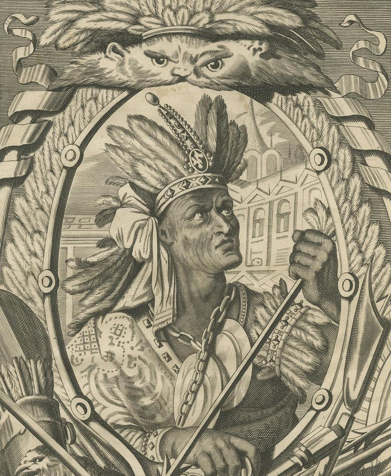 Antique Print of Atahualpa by Ogilby, 1671 In Good Condition For Sale In Langweer, NL