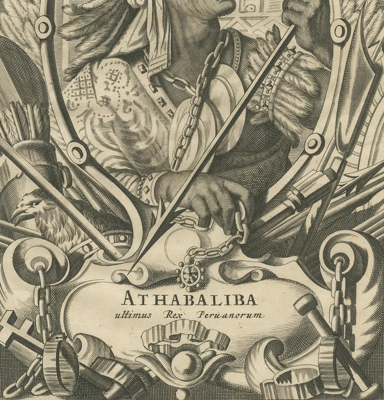 17th Century Antique Print of Atahualpa by Ogilby, 1671 For Sale