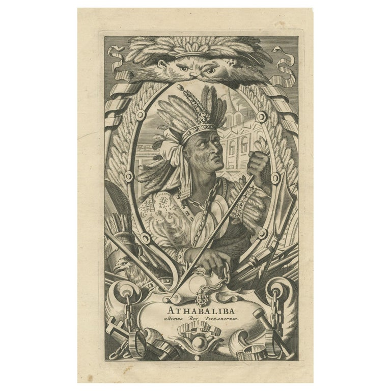 Antique Print of Atahualpa by Ogilby, 1671 For Sale