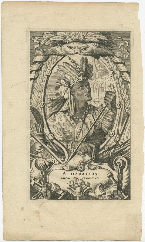 Antique print titled 'Athabaliba ultimus rex Peruanorum'. Portrait of Atahualpa. Atahualpa, Atawallpa (Quechua), also Atabalica, Atahuallpa, Atabalipa (in Hispanicized spellings) (circa 1502-26 July 1533) was the last Inca Emperor. After defeating