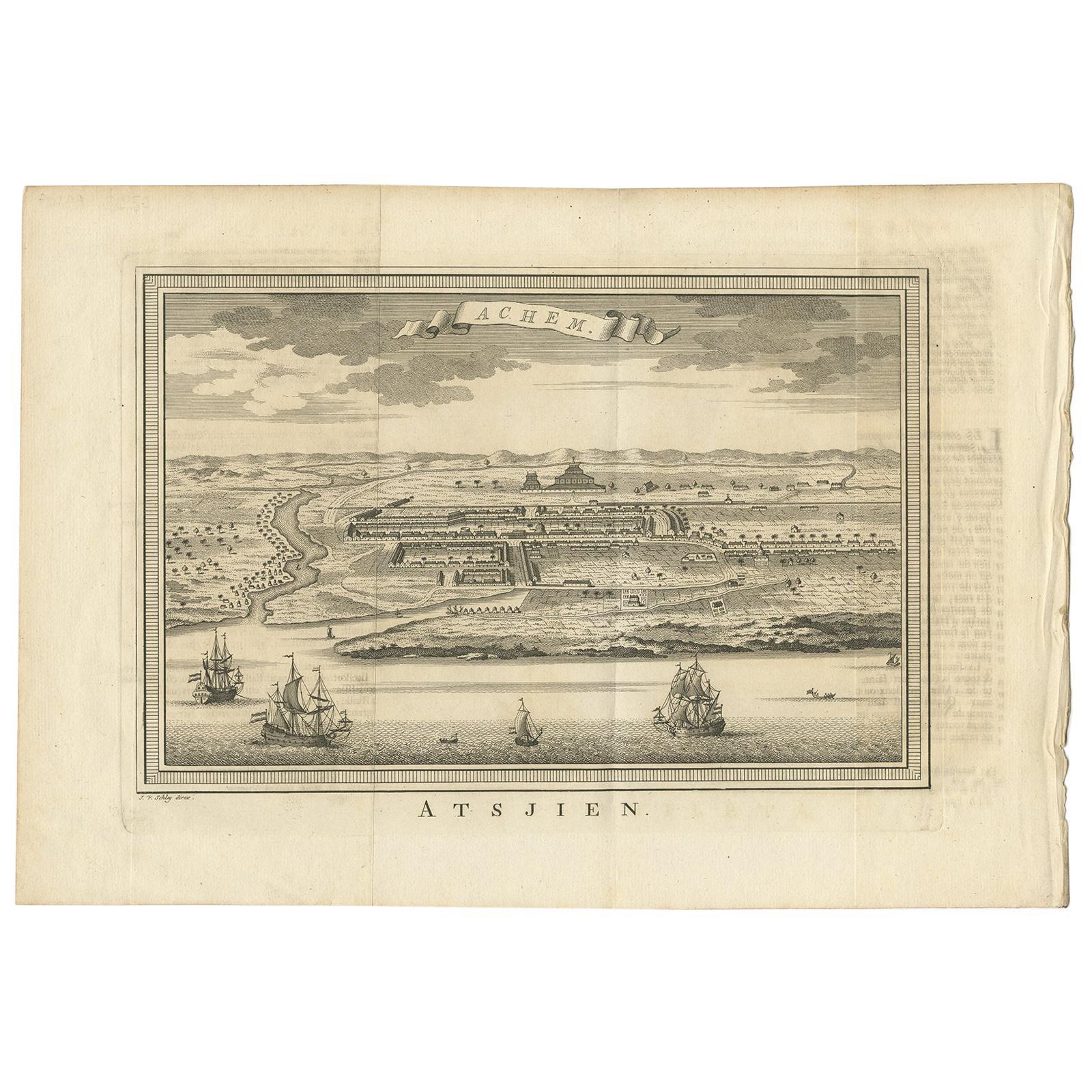 Antique Print of Atjeh by Van der Schley '1756'