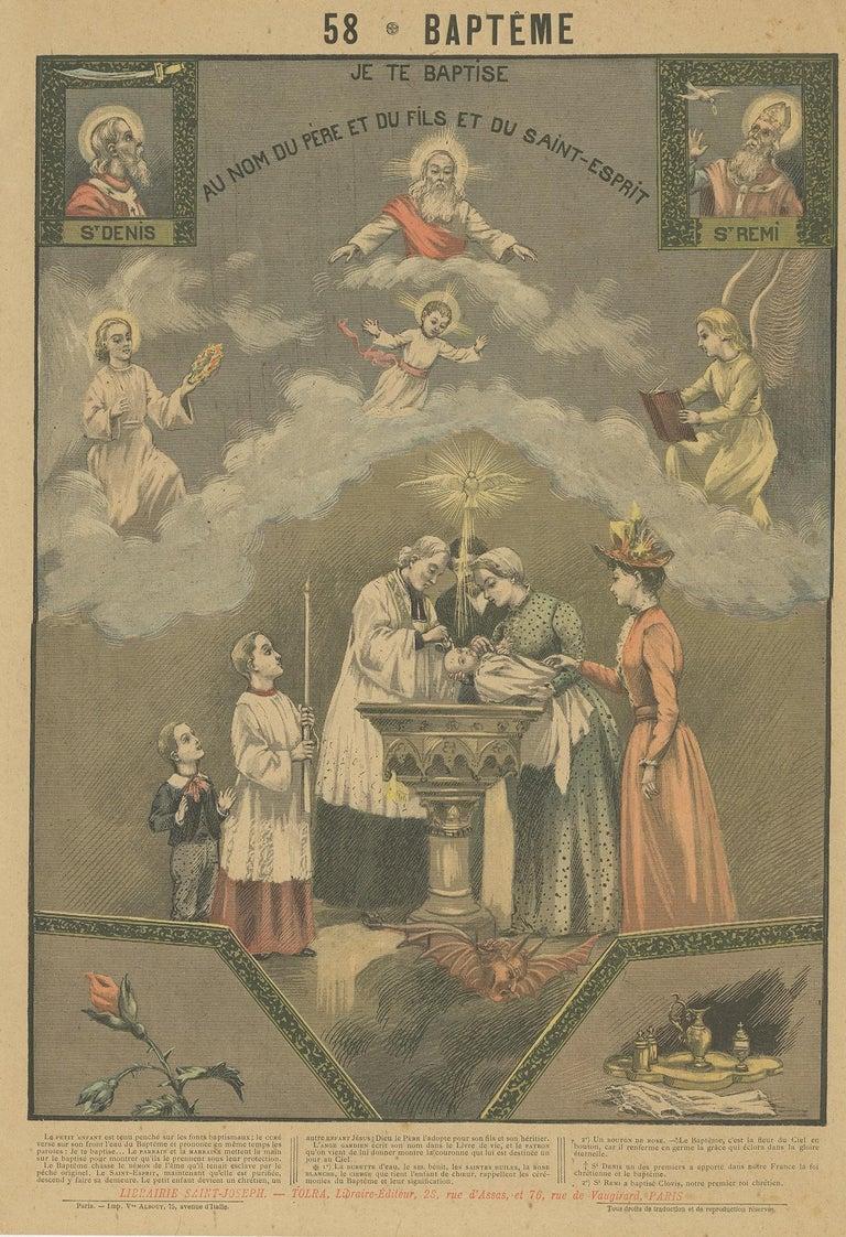 Antique print titled 'Je te Baptise au nom du Père et du Fils et du Saint-Esprit'. Old print depicting a baptism ceremony. This print originates from 'Grand Album en couleurs pour l'explication du Cathéchisme' by Abbé Mouterde.