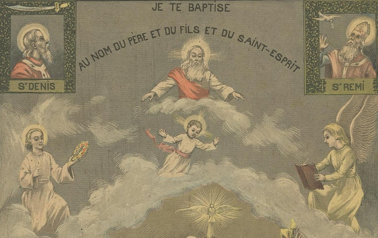 Antique Print of Baptism by Mouterde, circa 1900 In Fair Condition For Sale In Langweer, NL