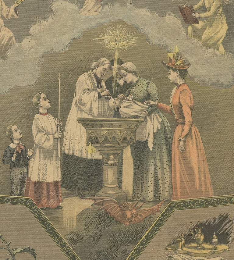 20th Century Antique Print of Baptism by Mouterde, circa 1900 For Sale