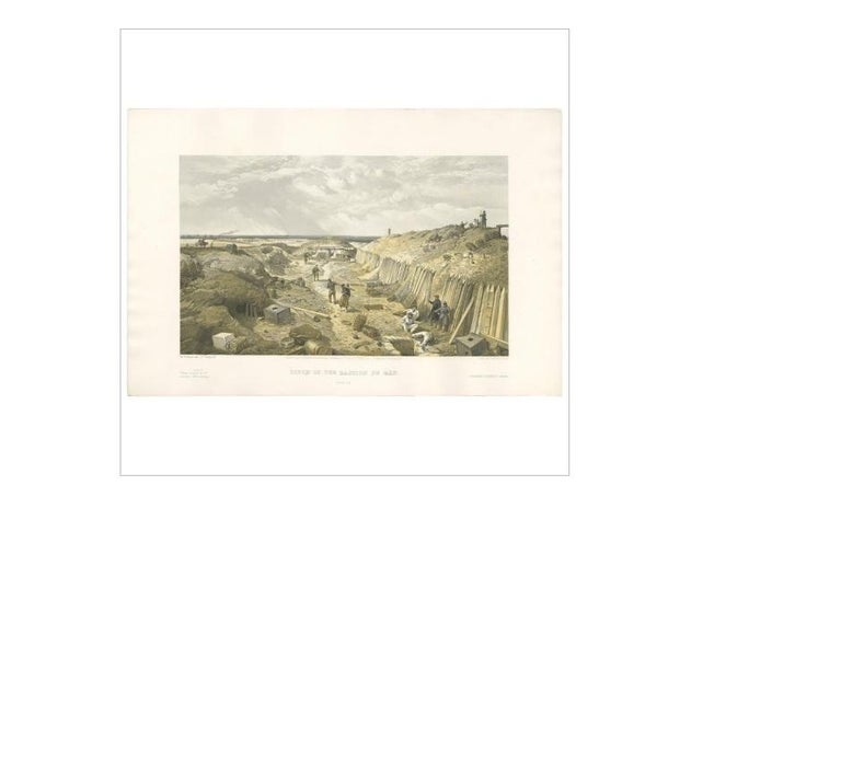 19th Century Antique Print of Bastion du Mât 'Crimean War' by W. Simpson, 1855 For Sale