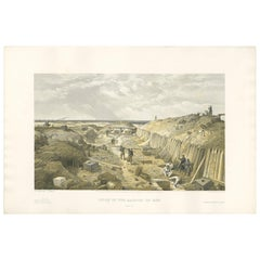 Antique Print of Bastion du Mât 'Crimean War' by W. Simpson, 1855