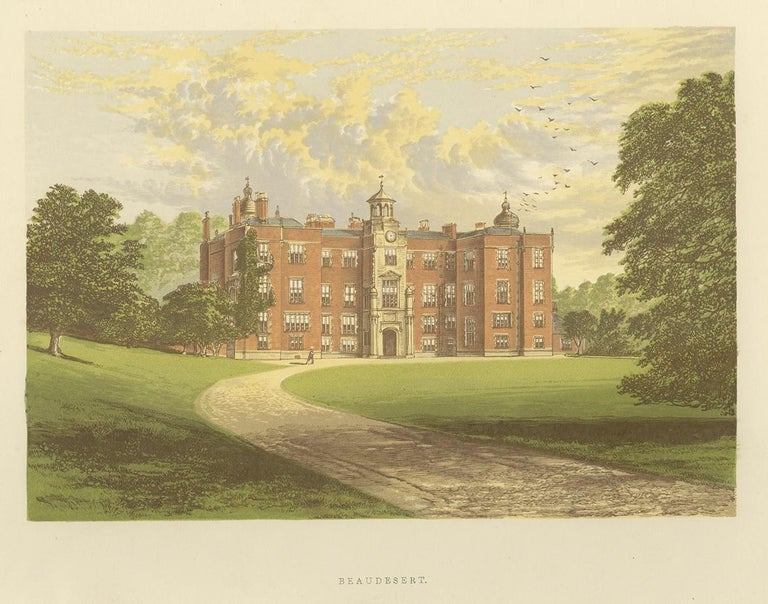 Antique print titled 'Beaudesert'. Color printed woodblock of Beaudesert, which was an estate and stately home on the southern edge of Cannock Chase in Staffordshire. This print originates from 'Picturesque Views of Seats of Noblemen and Gentlemen