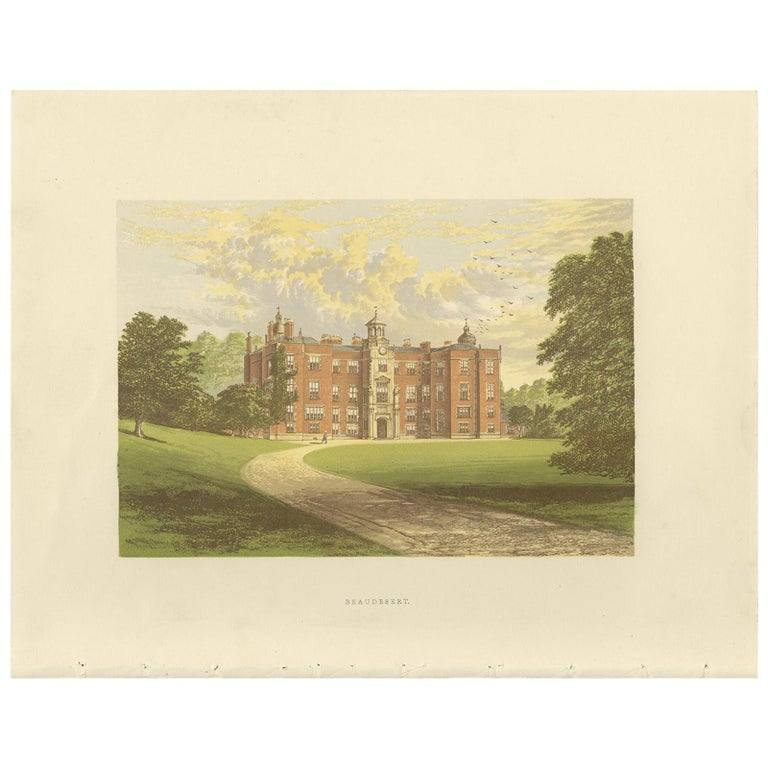 Antique Print of Beaudesert by Morris, circa 1880 For Sale