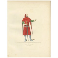 Antique Print of Cansignorio Della Scala, Lord of Verona, Italy by Bonnard, 1860