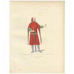 Antique Print of Cansignorio Della Scala, Lord of Verona, Italy by Bonnard, 1860