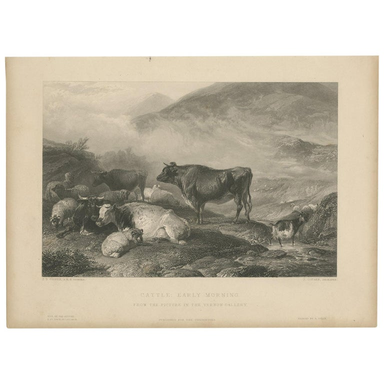 Antique Print of Cattle in the Morning by Brandard 'c.1850' For Sale