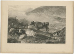 Antique Print of Cattle in the Morning by Brandard (c.1850)