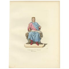 Antique Print of Charles of Anjou, King of Sicily, by Bonnard, 1860