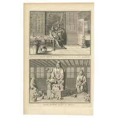 Antique Print of Chinese Gods by Picart, 'c.1730'