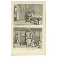 Antique Print of Chinese Gods by Picart, 'c.1740'