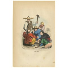 Antique Print of Chinese Men's Playing a Game of Dice by Wahlen, 1843