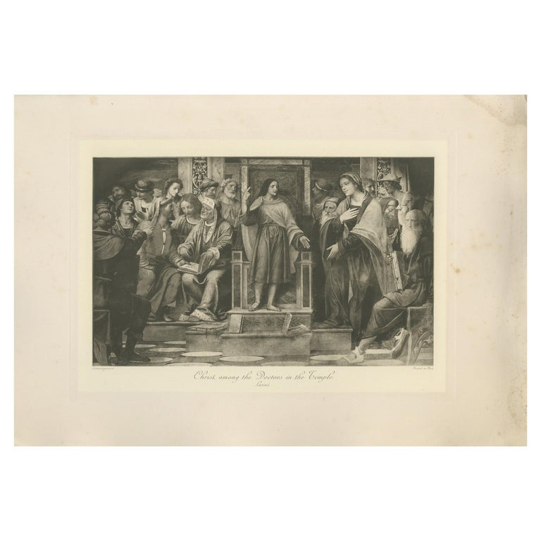 Antique Print of 'Christ among the Doctors in the Temple' after Luini 'c.1890' For Sale
