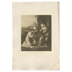 Antique Print of 'Christ taking leave of His Mother' Made after Titian 'c.1890'