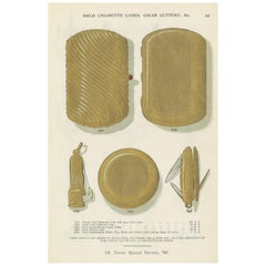 Antique Print of Cigarette Cases and Cigar Cutters by Streeter, 1898