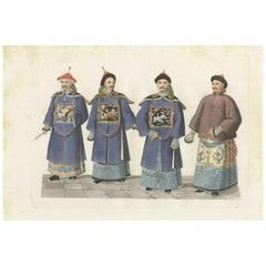 Antique Print of Civil Mandarins by Ferrario, '1831'