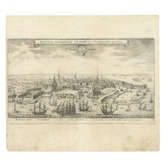 Antique Print of Copenhagen by Merian '1638'