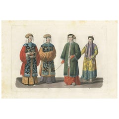 Antique Print of Costumes of Chinese Women by Ferrario '1831'