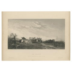 Antique Print of Cows in the Meadow by Brandard 'c.1850'
