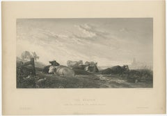 Antique Print of Cows in the Meadow by Brandard (c.1850)