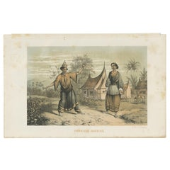 Antique Print of Dayak Dancers by Mieling, 1861