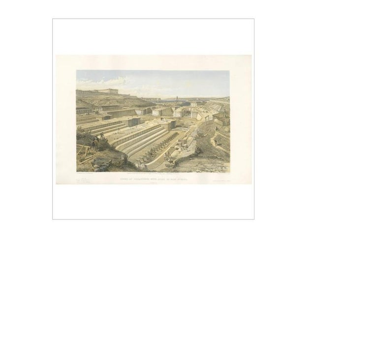 Antique print titled 'Docks at Sebastopol with ruins of Fort St. Paul'. This print originates from 'The Seat of the War in the East' by W. Simpson. Published July 18th 1855 by Paul & Dominic Colnaghi & Co.