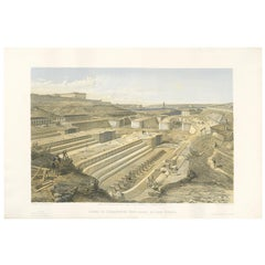 Antique Print of Docks at Sebastopol 'Crimean War' by W. Simpson, 1855