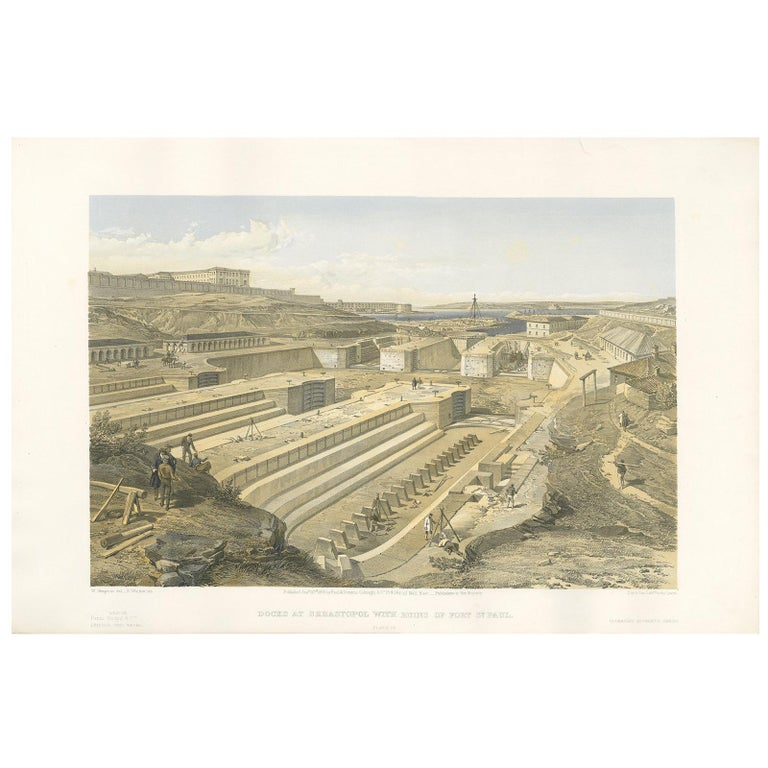 Antique Print of Docks at Sebastopol 'Crimean War' by W. Simpson, 1855 For Sale