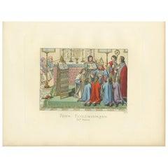 Antique Print of Ecclesiastical Rites, 15th Century, by Bonnard, 1860