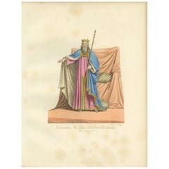 Antique Print of Edward III, King of England, by Bonnard, 1860