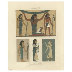 Antique Print of Egyptian Costumes by Strutt '1842'