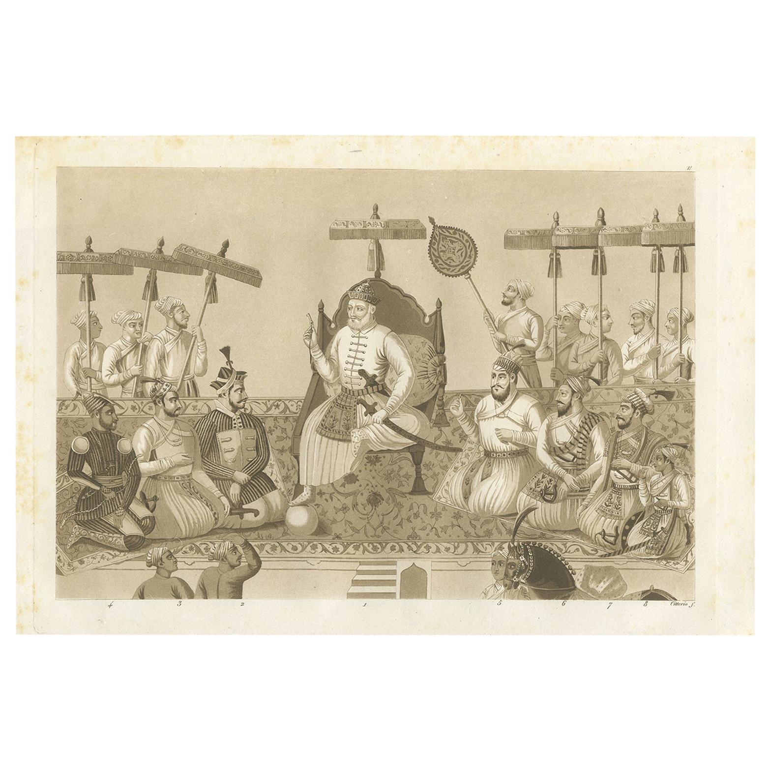 Antique Print of Eight Rulers of the House of Bijapur by Ferrario, '1831'