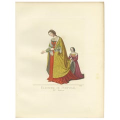 Antique Print of Eleanor of Portugal, 15th Century, by Bonnard, 1860
