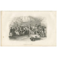 Antique Print of Father Neptune and His Court by D'Urville '1853'